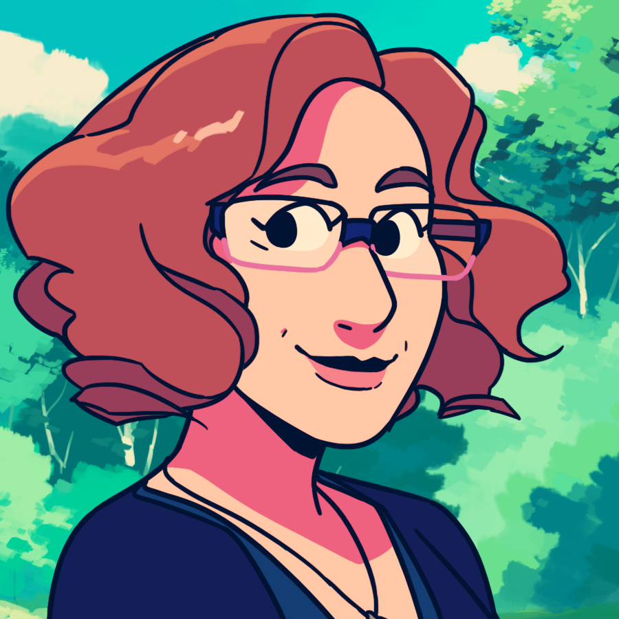 A comic book style illustration of a smiling Angela against a blue sky and forest background
